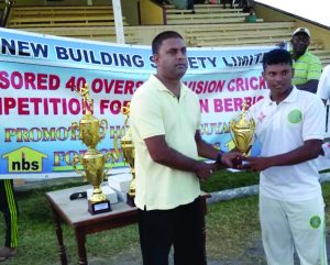 Steve Deonarine collects the Man-of-the-Match award for his match-saving innings