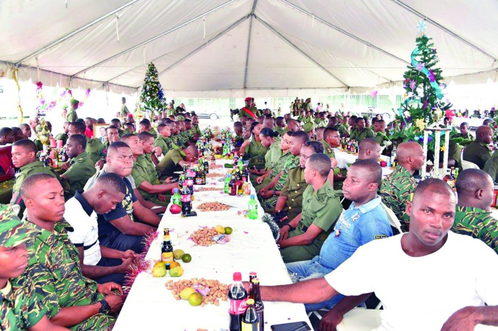 Officers and ranks of the Guyana Defence Force (GDF) at the annual Christmas lunch at Base Camp Ayanganna